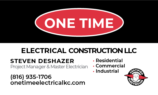 Screenshot: Front of One Time Electrical Business Cards