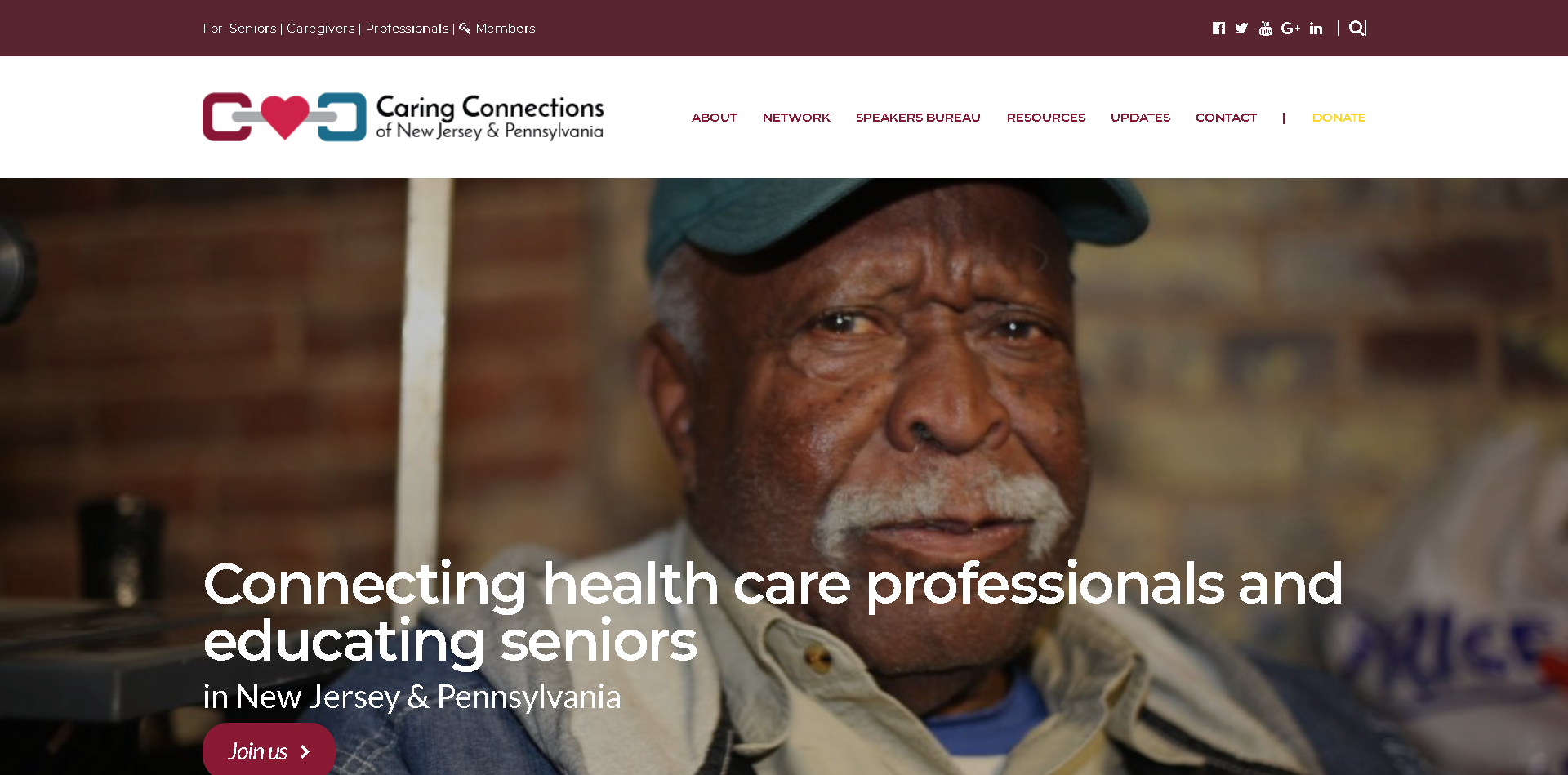 Screenshot: Caring Connections of New Jersey Website homepage