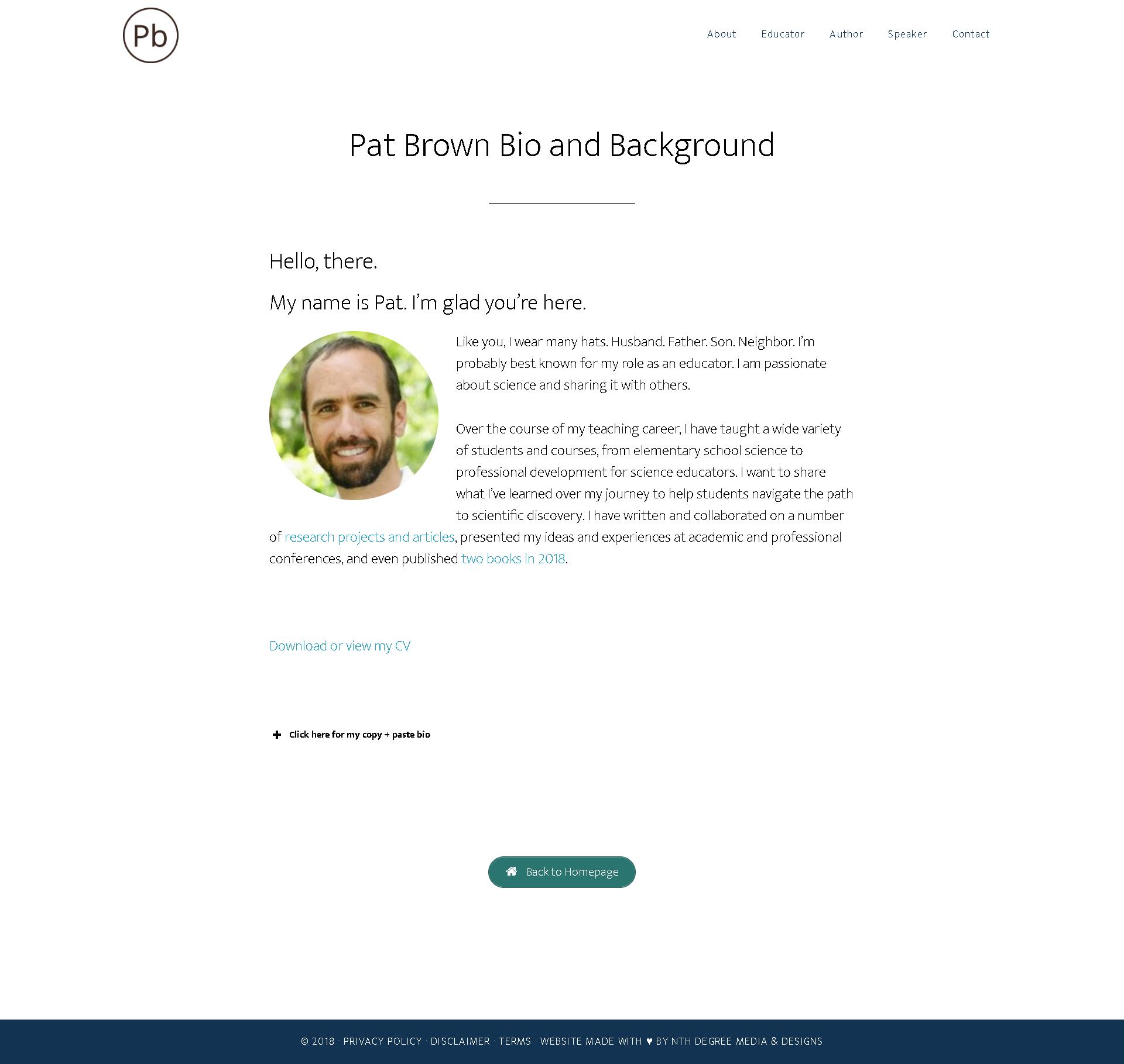 Screenshot: Bio page at patbrownedu.com