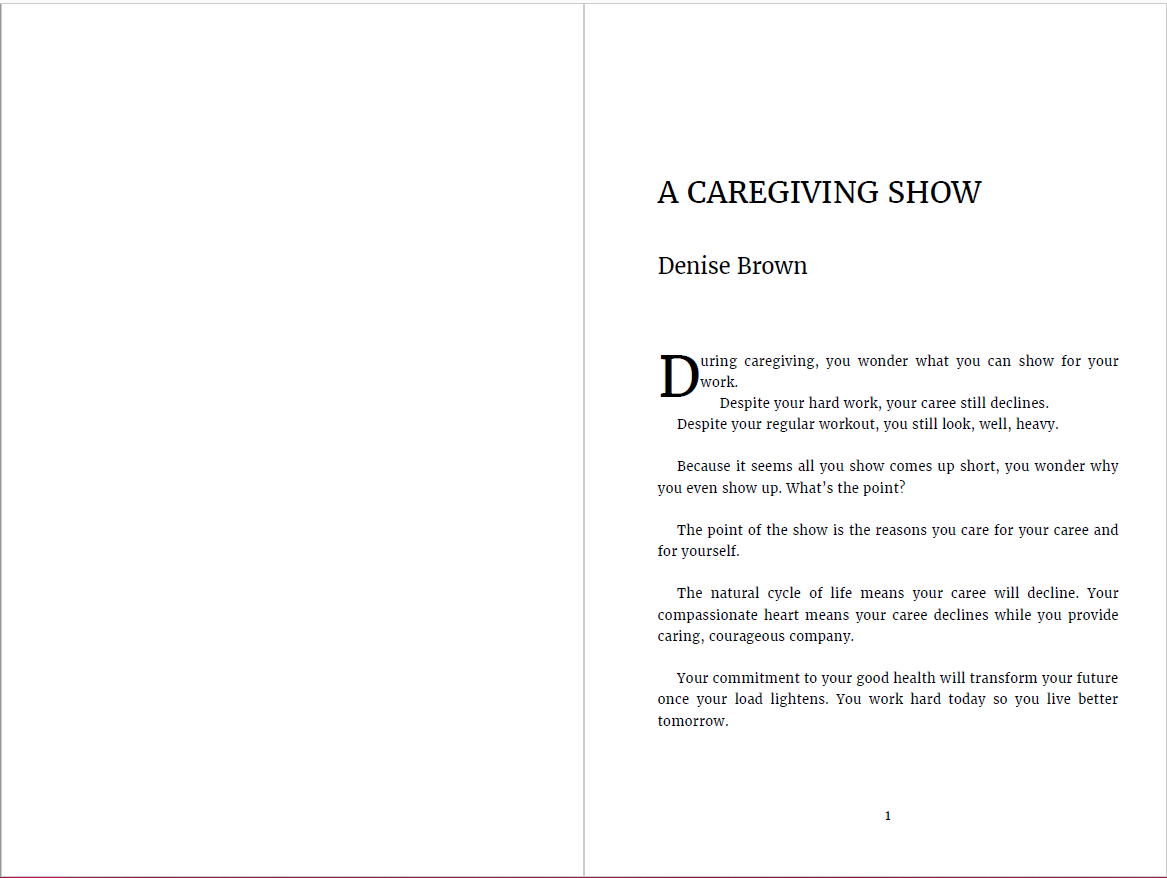 Cover: Our Caring Difference CCC Compilation Book page 1 layout