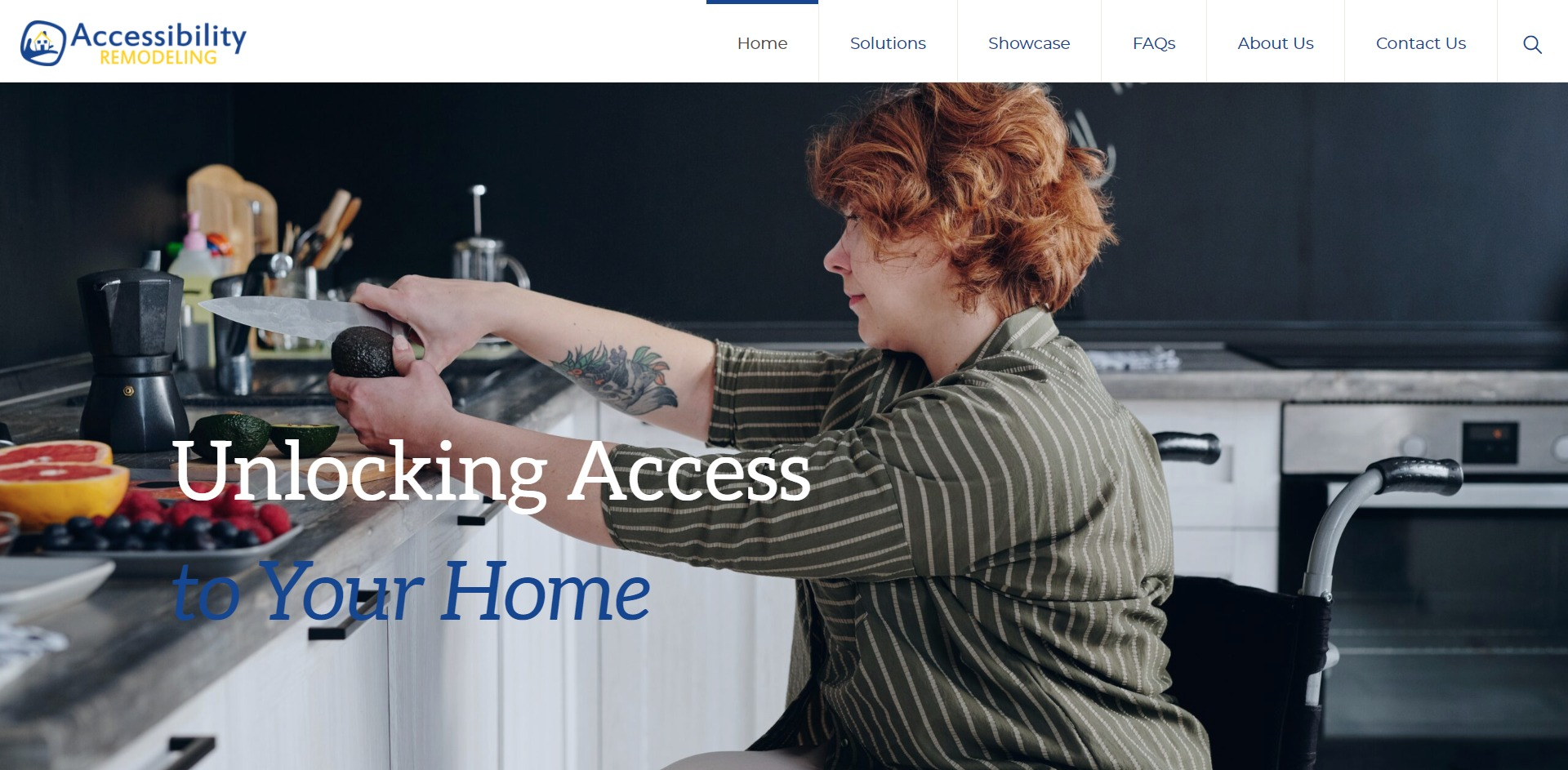 Screenshot: Accessibility Remodeling Website Homepage