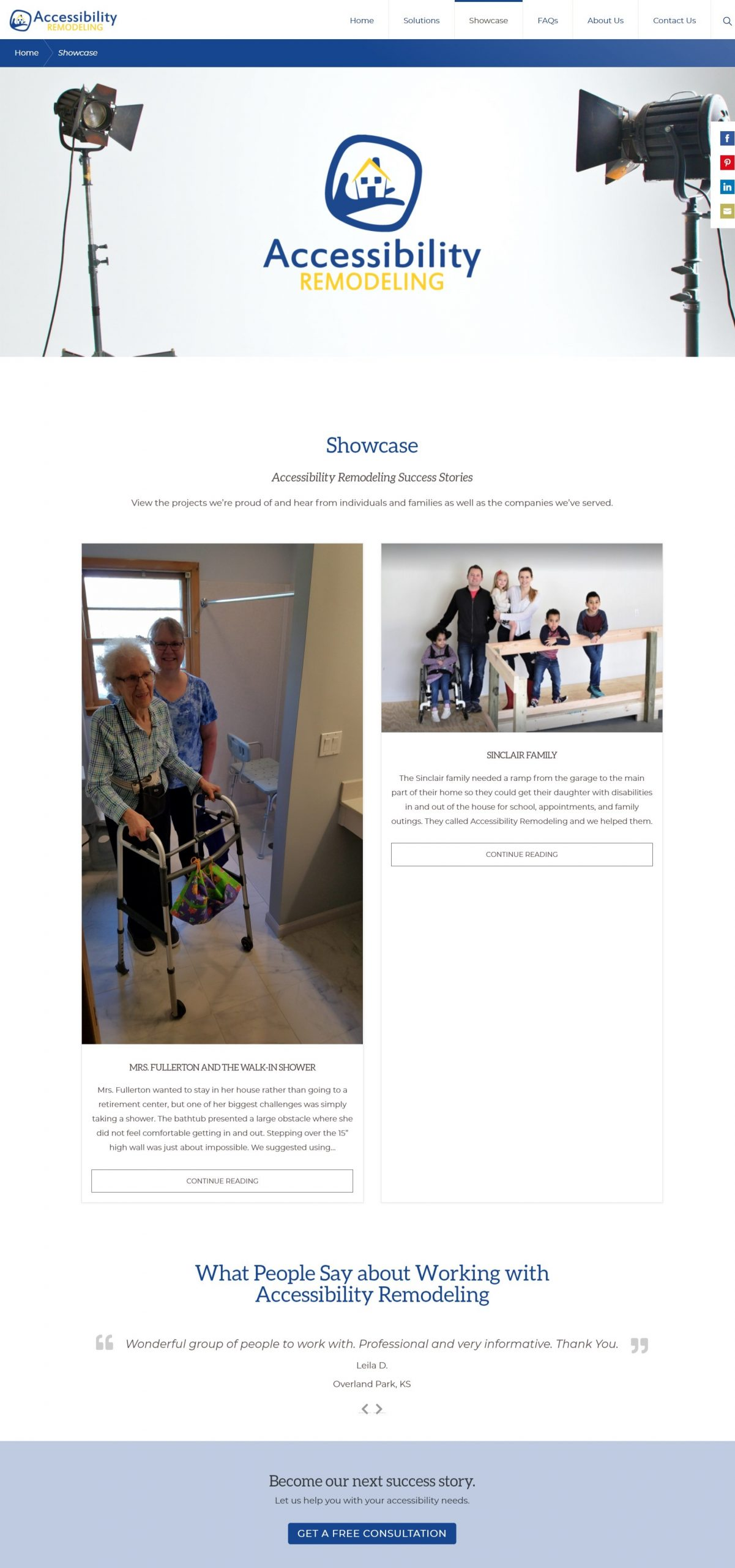 Screenshot: Accessibility Remodeling Website
