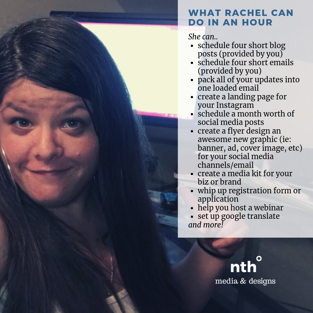 nth degree media and designs graphic and web design what Rachel can do in an hour